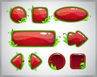 Rote glatte Knöpfe der Karikatur mit Naturelementen Stockfotos