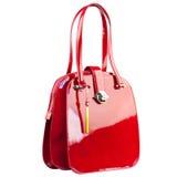 Rote glatte weibliche Lederhandtasche lokalisiert auf weißem Hintergrund Stockfotografie