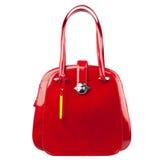 Rote glatte weibliche Lederhandtasche lokalisiert auf weißem Hintergrund Stockbilder