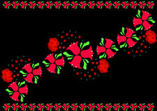 Rote Glockenblumen auf einem schwarzen Hintergrund Lizenzfreies Stockbild