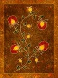 Rote Goldblumen-Blüten-Kunst lizenzfreie abbildung
