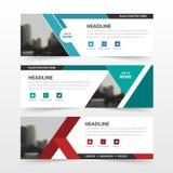 Rote grün-blaue Firmenkundengeschäft-Fahnenschablone des Polygons, flacher Designsatz der horizontalen Werbebranchefahnenplanscha Stockbild