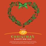 Rote grüne Kranz-Blumenstraußherzverzierung für Weihnachten event02 Stockfoto