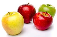 Rote, grüne und gelbe Äpfel Stockfotografie