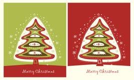 Rote grüne Weihnachtsbäume Lizenzfreies Stockfoto