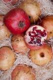 Rote Granatäpfel in einem Kasten Lizenzfreie Stockfotografie