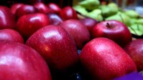Rote große frische Äpfel ernten stockbild