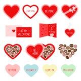 Rote Gruß- und Süßigkeitsikonen des Valentinstags Stockfotografie