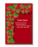 Rote Grußkarte mit Erdbeerrahmen Lizenzfreie Stockfotografie