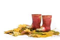 Rote Gummimatten der Kinder auf den gefallenen Blättern Lizenzfreie Stockfotografie