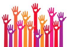 Rote Hände mit Herzen, Vektor Stockfoto