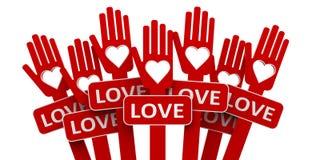 Rote Hände mit Liebe Lizenzfreie Stockbilder