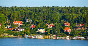 Rote hölzerne Häuser Lizenzfreies Stockfoto