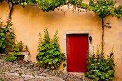 Rote hölzerne Tür angegrenzt durch Grünpflanzen Stockfotos