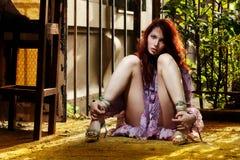 Rote Haarfrau Stockfotos