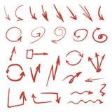 Rote Hand gezeichnete Pfeile Lizenzfreies Stockfoto