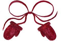 Rote Handschuhe im Aquarell lizenzfreie stockbilder