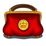 Rote Handtasche mit königlicher goldener Dichtung Stockfoto