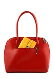 Rote Handtasche mit Mappe Stockbild