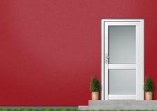Rote Hausfrontseite Lizenzfreie Stockfotos