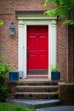 Rote Haustür Stockbild