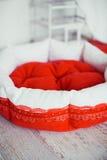 Rote Haustiermatratze im Raum mit Käfig Lizenzfreies Stockfoto