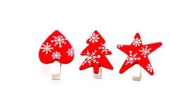 Rote, helle Weihnachtsdekorationen stockfoto