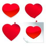 Rote Herzaufkleber Stockfotos