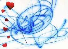 Rote Herzen auf blauer Linie der weißen Liebe des Hintergrundes Romanze stock abbildung