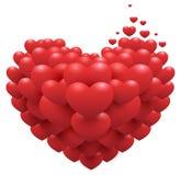 Rote Herzen auf Herzen formen Symbol der Liebe Zusatz für Valentinsgrußtag Stockbilder