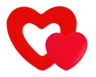 Rote Herzen auf Licht Stockfotografie