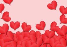 Rote Herzen auf rosa Designhintergrund für glücklichen Valentinsgruß ` s Tagesvektor Stockfotos