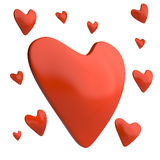 Rote Herzen, 3D Lizenzfreies Stockfoto