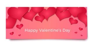 Rote Herzen 3d auf rosa Hintergrund, Vektorillustration Lizenzfreies Stockfoto