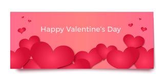Rote Herzen 3d auf rosa Hintergrund, Vektorillustration Stockfotografie