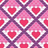 Rote Herzen des Vektors und nahtloses Muster der Fischschuppe lizenzfreie stockbilder