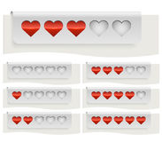 Rote Herzen, die Statusleiste veranschlagen Lizenzfreies Stockfoto