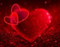 Rote Herzen mit dem Glänzen und den Sternen Stockfotografie