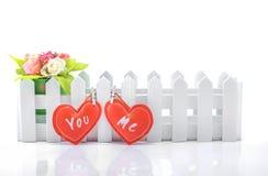 Rote Herzen mit dem Text Sie und ich Lizenzfreies Stockbild
