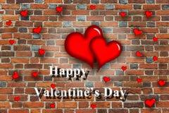 Rote Herzen mit Inspiration glücklichem Valentinstag Lizenzfreies Stockbild