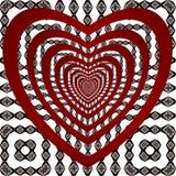Rote Herzen und Verzierung des Musters stock abbildung