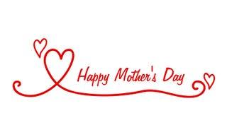 Rote Herzfahne der glücklichen Mutter-Tagesbeschriftungskalligraphie stock abbildung