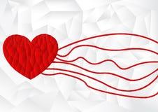 Rote Herzikone des Polygons mit weißem Polygonhintergrund, Vektor Lizenzfreies Stockfoto
