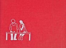 Rote Hintergrundbeschaffenheit mit einer Zeichnung lizenzfreie abbildung