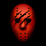 Rote Hockeymaske mit Spuren der Greifer Stockfoto