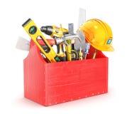 Rote Holzkiste voll Werkzeuge Lizenzfreie Stockfotografie