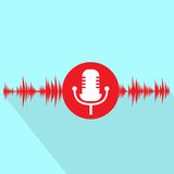 Rote Ikone des Mikrofons mit flachem Design der Schallwelle Stockfoto