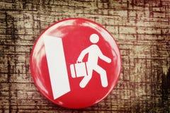 Rote Ikone und ein weißer Mann geht heraus die Tür Stockfotos