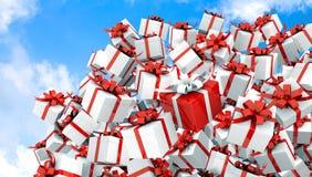 Rote Illustration der Geschenkbox 3d Stockfotos