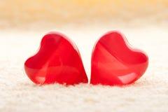 Rote Innere des Makro zwei auf Tuch Lizenzfreie Stockbilder